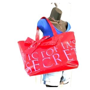 Victoria Secret Red and Pink with Bow Tote